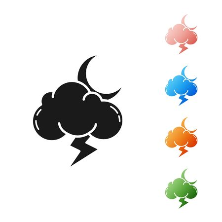 Black Storm icon isolated on white background. Cloud with lightning and moon sign. Weather icon of storm. Set icons colorful. Vector Illustration