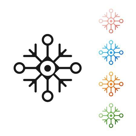 Black Snowflake icon isolated on white background. Set icons colorful. Vector Illustration Çizim