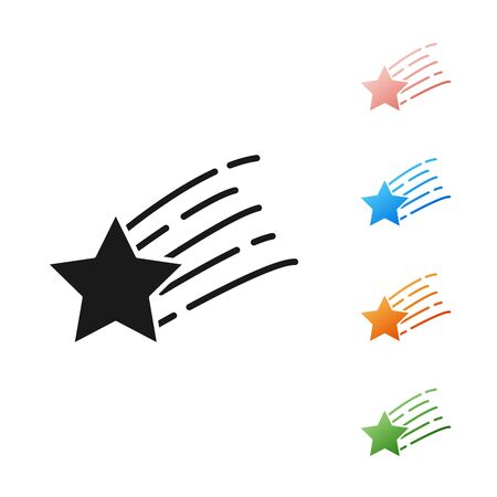 Black Falling star icon isolated on white background. Shooting star with star trail. Meteoroid, meteorite, comet, asteroid, star icon. Set icons colorful. Vector Illustration 向量圖像