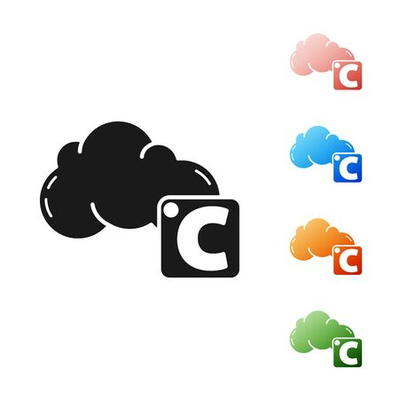 Black Celsius and cloud icon isolated on white background. Set icons colorful. Vector Illustration