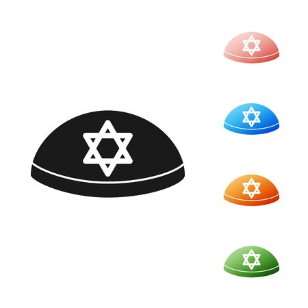 Black Jewish kippah with star of david icon isolated on white background. Jewish yarmulke hat. Set icons colorful. Vector Illustration