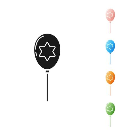 Black Balloons with ribbon with star of david icon isolated on white background. Balloon with israel flag. Set icons colorful. Vector Illustration