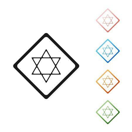 Black Star of David icon isolated on white background. Jewish religion symbol. Symbol of Israel. Set icons colorful. Vector Illustration Stock Vector - 131382159