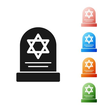 Black Tombstone with star of david icon isolated on white background. Jewish grave stone. Gravestone icon. Set icons colorful. Vector Illustration