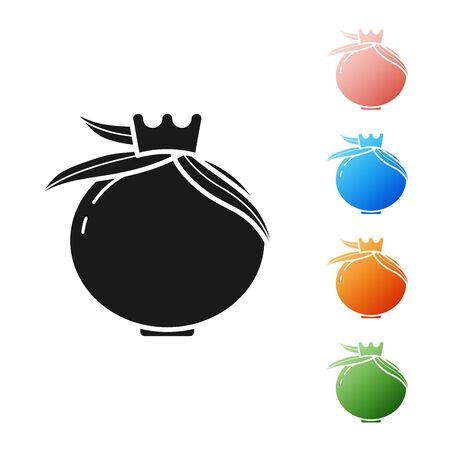 Black Pomegranate icon isolated on white background. Garnet fruit. Set icons colorful. Vector Illustration