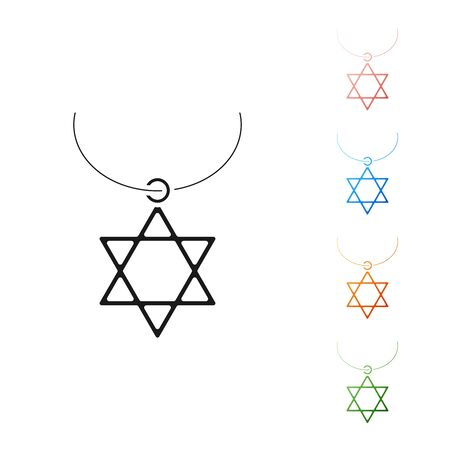 Black Star of David necklace on chain icon isolated on white background. Jewish religion symbol. Symbol of Israel. Jewellery and accessory. Set icons colorful. Vector Illustration