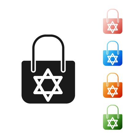 Black Shopping bag with star of david icon isolated on white background. Package sign. Set icons colorful. Vector Illustration