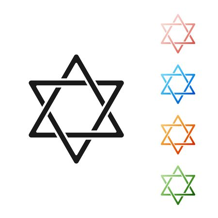 Black Star of David icon isolated on white background. Jewish religion symbol. Symbol of Israel. Set icons colorful. Vector Illustration