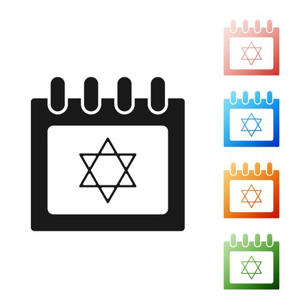 Black Jewish calendar with star of david icon isolated on white background. Hanukkah calendar day. Set icons colorful. Vector Illustration