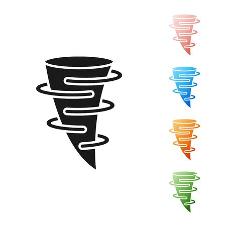 Black Tornado icon isolated on white background. Set icons colorful. Vector Illustration