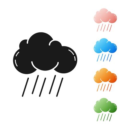 Black Cloud with rain icon isolated on white background. Rain cloud precipitation with rain drops. Set icons colorful. Vector Illustration