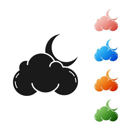 Black Cloud with moon and stars icon isolated on white background. Cloudy night sign. Sleep dreams symbol. Night or bed time sign. Set icons colorful. Vector Illustration