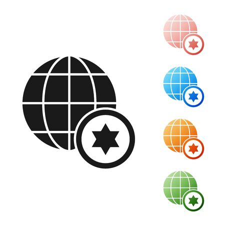 Black World Globe and Israel icon isolated on white background. Set icons colorful. Vector Illustration