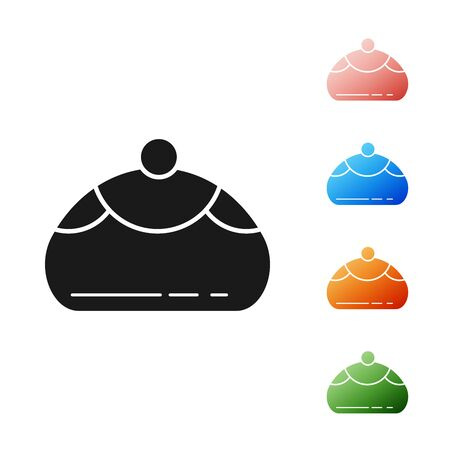Black Jewish sweet bakery icon isolated on white background. Hanukkah sufganiyot. Jewish easter cake. Set icons colorful. Vector Illustration
