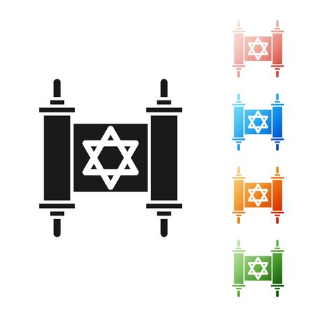 Black Torah scroll icon isolated on white background. Jewish Torah in expanded form. Star of David symbol. Old parchment scroll. Set icons colorful. Vector Illustration  イラスト・ベクター素材