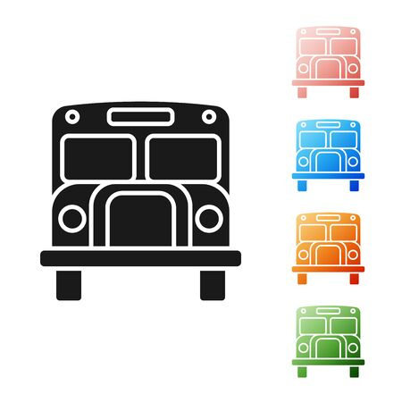 Black School Bus icon isolated on white background. Public transportation symbol. Set icons colorful. Vector Illustration
