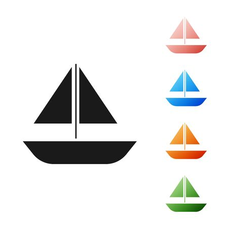 Black Yacht sailboat or sailing ship icon isolated on white background. Sail boat marine cruise travel. Set icons colorful. Vector Illustration Иллюстрация