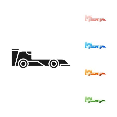 Black Formula race car icon isolated on white background. Set icons colorful. Vector Illustration