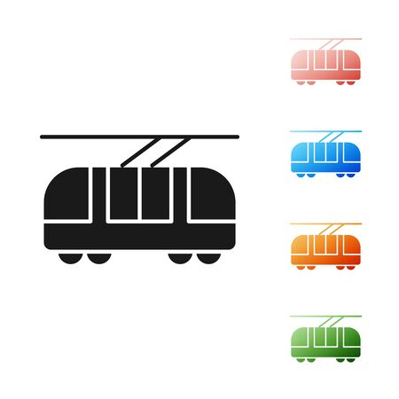 Black Tram and railway icon isolated on white background. Public transportation symbol. Set icons colorful. Vector Illustration