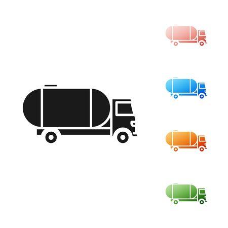 Black Tanker truck icon isolated on white background. Petroleum tanker, petrol truck, cistern, oil trailer. Set icons colorful. Vector Illustration Illustration