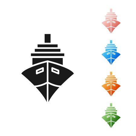 Black Cargo ship icon isolated on white background. Set icons colorful. Vector Illustration