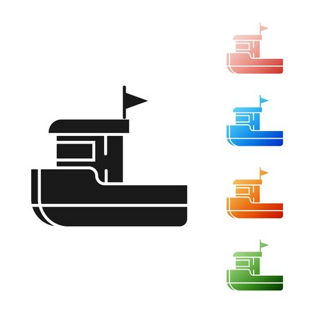 Black Fishing boat icon isolated on white background. Set icons colorful. Vector Illustration 向量圖像