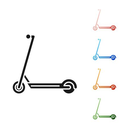 Black Scooter icon isolated on white background. Set icons colorful. Vector Illustration