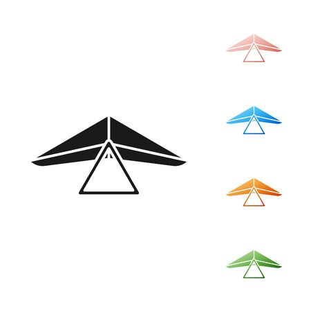 Black Hang glider icon isolated on white background. Extreme sport. Set icons colorful. Vector Illustration