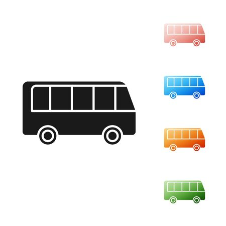 Black Bus icon isolated on white background. Transportation concept. Bus tour transport sign. Tourism or public vehicle symbol. Set icons colorful. Vector Illustration Foto de archivo - 131381927