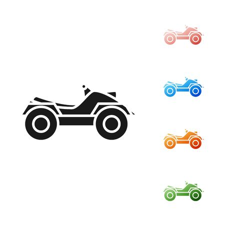 Black All Terrain Vehicle or ATV motorcycle icon isolated on white background. Quad bike. Extreme sport. Set icons colorful. Vector Illustration Çizim
