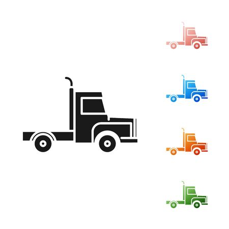 Black Delivery cargo truck vehicle icon isolated on white background. Set icons colorful. Vector Illustration