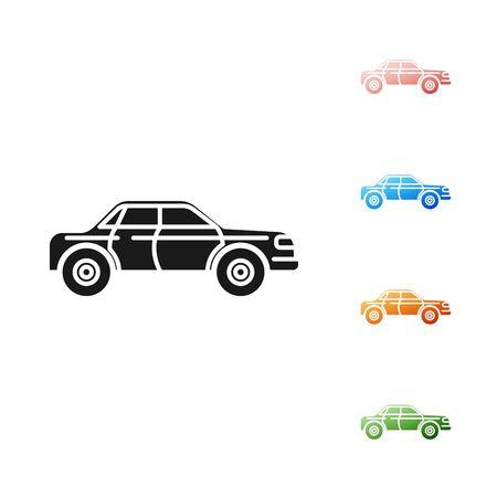 Black Sedan car icon isolated on white background. Set icons colorful. Vector Illustration