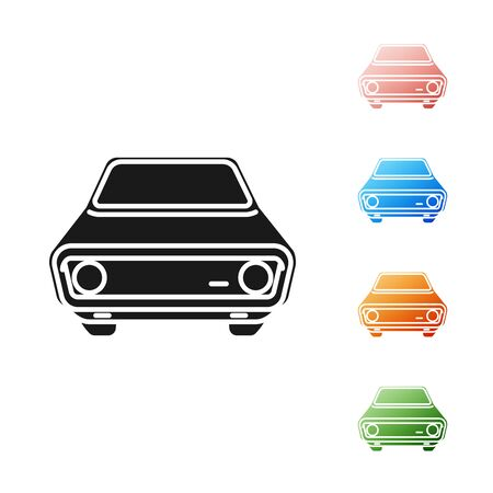 Black Car icon isolated on white background. Front view. Set icons colorful. Vector Illustration