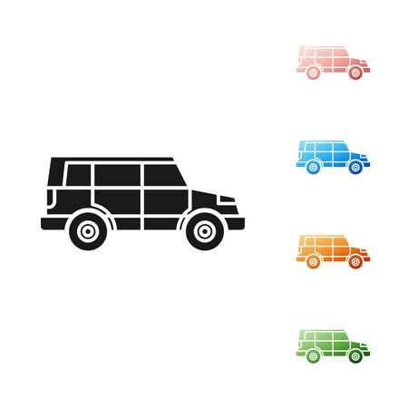 Black Off road car icon isolated on white background.  Set icons colorful. Vector Illustration