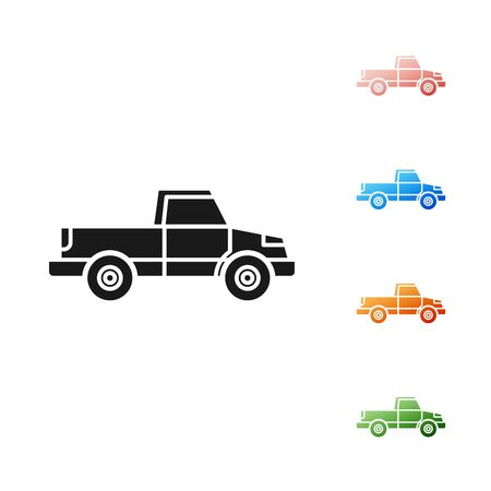 Black Pickup truck icon isolated on white background. Set icons colorful. Vector Illustration Foto de archivo - 131382210