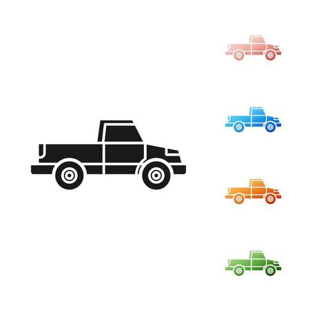 Black Pickup truck icon isolated on white background. Set icons colorful. Vector Illustration Illustration