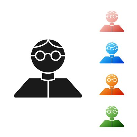 Black Student icon isolated on white background. Set icons colorful. Vector Illustration