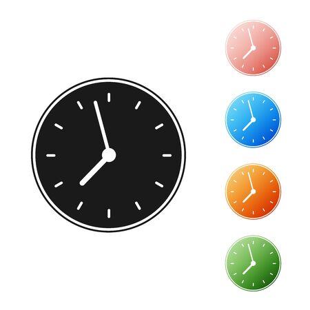 Black Clock icon isolated on white background. Time symbol. Set icons colorful. Vector Illustration Ilustração