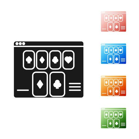 Black Online poker table game icon isolated on white background. Online casino. Set icons colorful. Vector Illustration