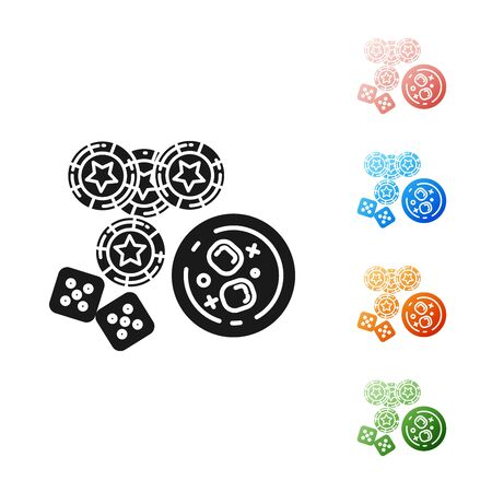 Black Casino chips, game dice and glass of whiskey with ice cubes icon isolated on white background. Casino poker. Set icons colorful. Vector Illustration