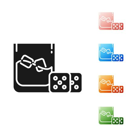 Black Game dice and glass of whiskey with ice cubes icon isolated on white background. Casino gambling. Set icons colorful. Vector Illustration  イラスト・ベクター素材
