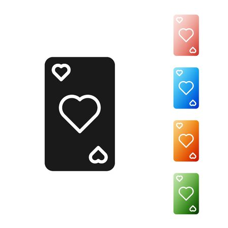 Black Playing card with heart symbol icon isolated on white background. Casino gambling. Set icons colorful. Vector Illustration