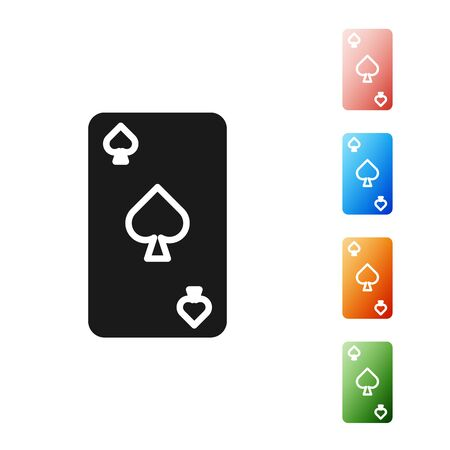Black Playing card with spades symbol icon isolated on white background. Casino gambling. Set icons colorful. Vector Illustration