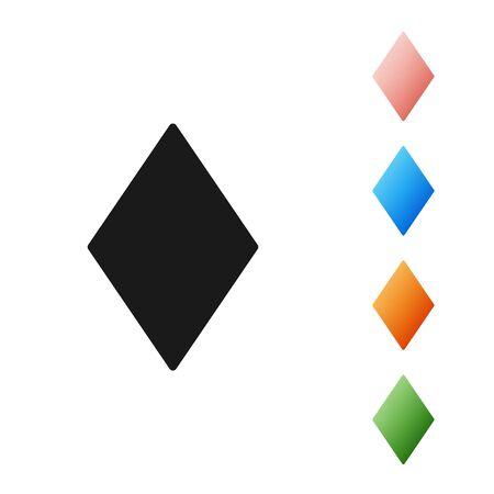 Black Playing card with diamonds symbol icon isolated on white background. Casino gambling. Set icons colorful. Vector Illustration Ilustração