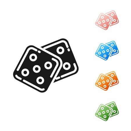 Black Game dice icon isolated on white background. Casino gambling. Set icons colorful. Vector Illustration