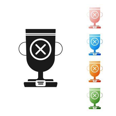 Black Award cup icon isolated on white background. Winner trophy symbol. Championship or competition trophy. Sports achievement sign. Set icons colorful. Vector Illustration
