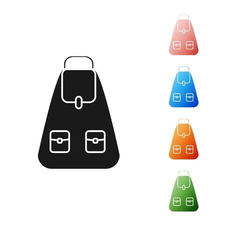 Black School backpack icon isolated on white background. Set icons colorful. Vector Illustration Иллюстрация