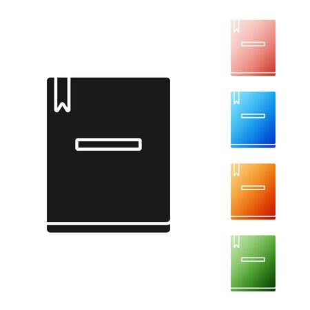 Black Notebook icon isolated on white background. Spiral notepad icon. School notebook. Writing pad. Diary for school. Set icons colorful. Vector Illustration Ilustracja