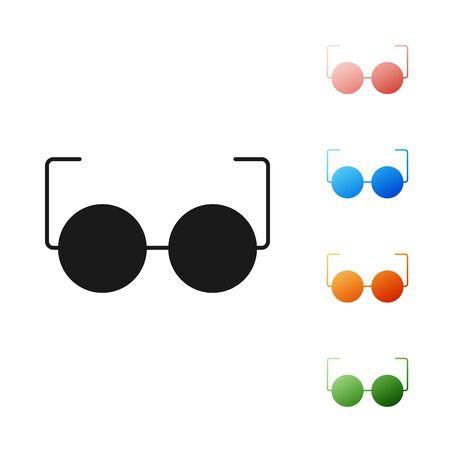Black Glasses icon isolated on white background. Eyeglass frame symbol. Set icons colorful. Vector Illustration Иллюстрация