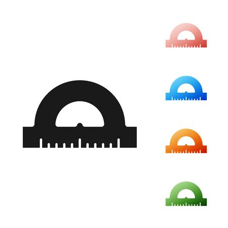 Black Protractor grid for measuring degrees icon isolated on white background. Tilt angle meter. Measuring tool. Geometric symbol. Set icons colorful. Vector Illustration Ilustração